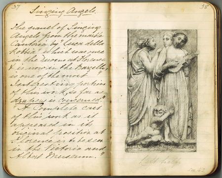 Kleines Notizbuch mit alten Handschriftanmerkungen über Kupferplatten über Kunst und schöne Bleistiftillustration der Skulptur. Standard-Bild - 84490998
