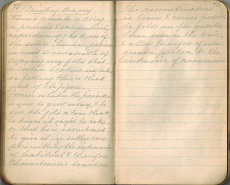 Old-style Kupfer-Platte Handschrift in einem kleinen Notebook auf das Thema der Wiedergabe von Textilien in der Kunst, doppelseitige Verbreitung. Standard-Bild - 84491004