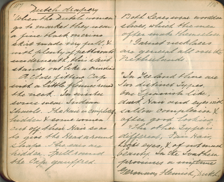 Old-style copper-plate handwriting in a small notebook on the subject of rendering of textiles in art, double-page spread.