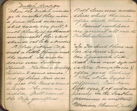 Old-style Kupfer-Platte Handschrift in einem kleinen Notebook auf das Thema der Wiedergabe von Textilien in der Kunst, doppelseitige Verbreitung. Standard-Bild - 84491072