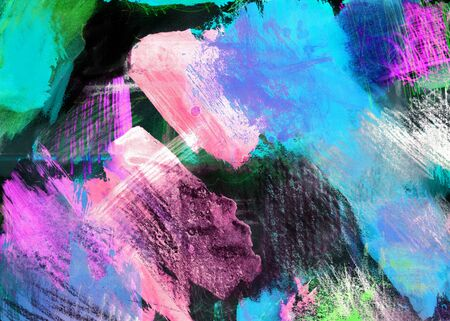 mixedmedia: Mixed-media textured areas with paint and pastels, random marks and textures, predominant colors of blue, magenta.