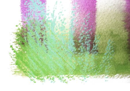 mixedmedia: Artistic texture of watercolor with rough pastels hatching, tints of green, cyan and magenta, on rough watercolor paper, white background.