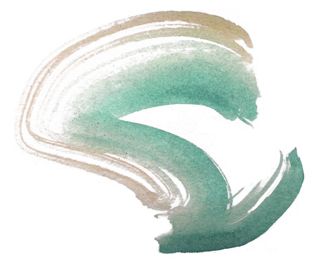 Loose curved brush-stroke in turquoise and cream watercolor on rough watercolor paper with white background. Фото со стока
