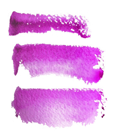 3 rough brush-strokes in magenta semi-transparent water-based paint on rough watercolor paper, with white background.