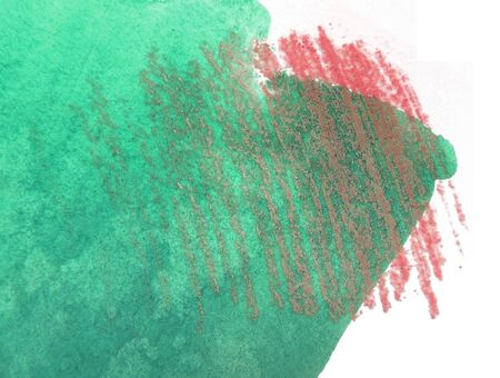 mixedmedia: Artistic texture of green watercolor and red pastels rough hatching, on rough watercolor paper, white background.