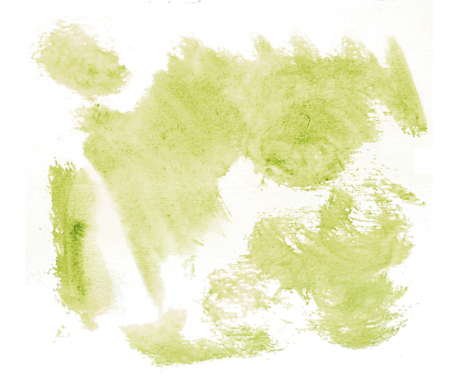Rough random brush-strokes in yellow-green semi-transparent watercolor paint on rough watercolor paper, with white background. Фото со стока
