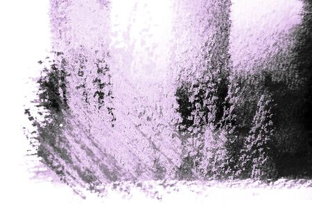 mixedmedia: Artistic texture of watercolor with rough pastels hatching, magenta tints, on rough watercolor paper, white background. Stock Photo