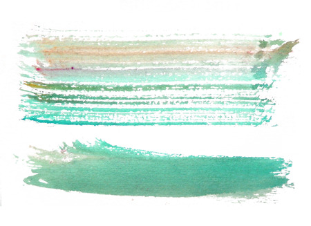 two rough horizontal brush-strokes in cyan and orange semi-transparent water-based paint on rough watercolor paper, with white background. Фото со стока