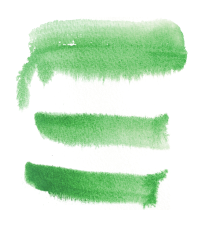 3 rough brush-strokes in green semi-transparent water-based paint on damp rough watercolor paper, with white background.