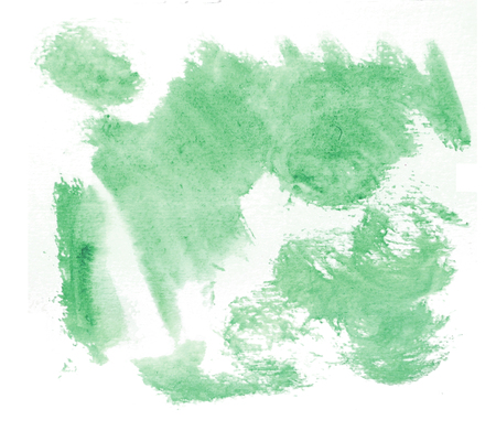 Rough random brush-strokes in green semi-transparent watercolor paint on rough watercolor paper, with white background.