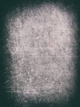 Vignette texture, old dirty white paint flaking, with scratches and dirt, paint grunge background texture with dark vignette, pink and blue tints. Stock Photo