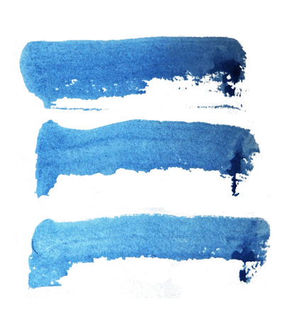 3 rough brush-strokes in blue semi-transparent water-based paint on textured paper, with white background. Фото со стока