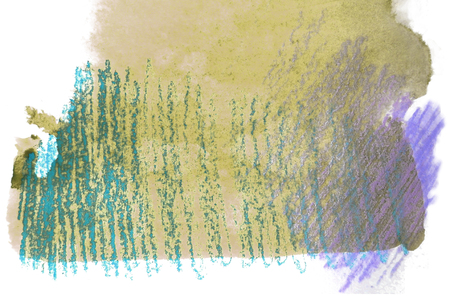 mixedmedia: Artistic texture of yellow watercolor and rough pastels hatching in blue and purple, on rough watercolor paper, white background.