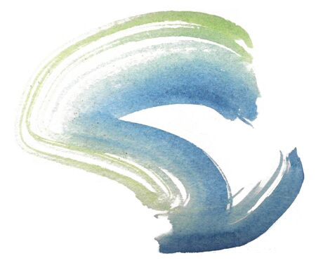Loose curved brush-stroke in blue and green watercolor on rough watercolor paper with white background.