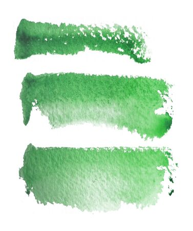 3 rough brush-strokes in green semi-transparent water-based paint on rough watercolor paper, with white background.