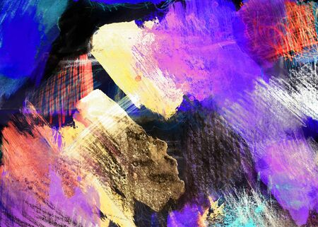 mixedmedia: Mixed-media textured areas with paint and pastels, random marks and textures, predominant colors of purple and yellow.
