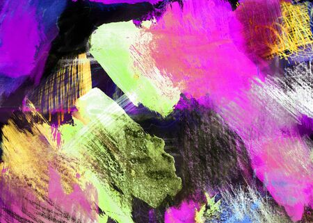Mixed-media textured areas with paint and pastels, random marks and textures, predominant colors of magenta and yellow.