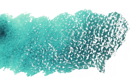 mixedmedia: Artistic texture of cyan or turquoise watercolor and white pastels, on rough watercolor paper, white background.
