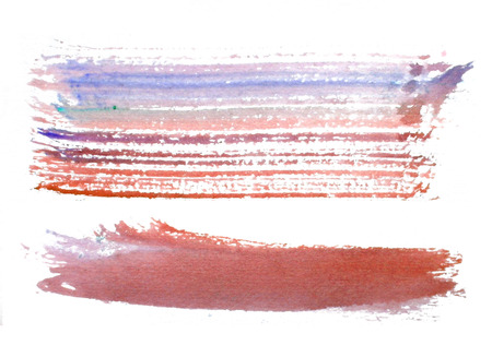 two rough horizontal brush-strokes in red and blue semi-transparent water-based paint on rough watercolor paper, with white background.