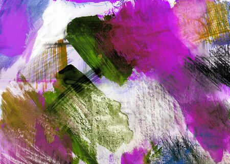 Mixed-media textured areas with paint and pastels, random marks and textures, predominant colors of magenta and green.