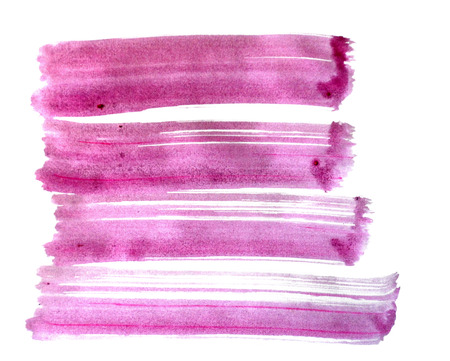 4 rough brush-strokes in red semi-transparent water-based paint on white background. Stock Photo