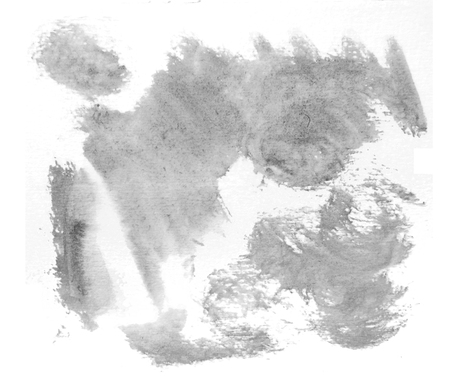 Rough random brush-strokes in gray semi-transparent watercolor paint on rough watercolor paper, with white background.