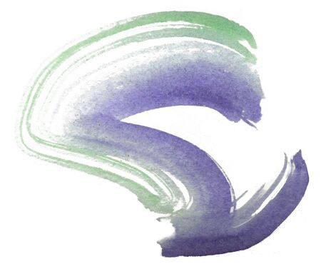 Loose curved brush-stroke in purple and green watercolor on rough watercolor paper with white background.