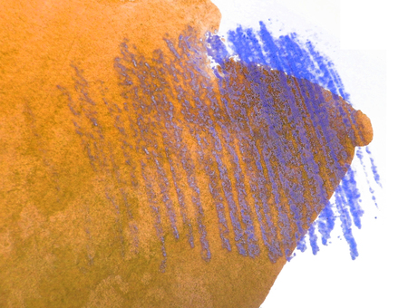 mixedmedia: Artistic texture of orange watercolor and blue pastels rough hatching, on rough watercolor paper, white background.