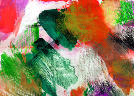 mixedmedia: Mixed-media textured areas with paint and pastels, random marks and textures, predominant colors of red and, green. Stock Photo