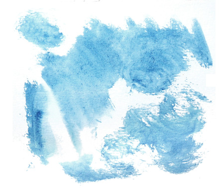 Rough random brush-strokes in blue semi-transparent watercolor paint on rough watercolor paper, with white background. Фото со стока