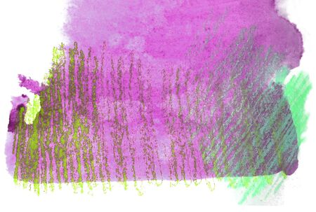 mixedmedia: Artistic texture of magenta watercolor and rough pastels hatching in greens, on rough watercolor paper, white background.