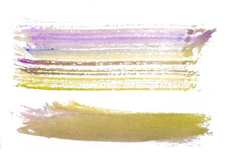 two rough horizontal brush-strokes in yellow and purple semi-transparent water-based paint on rough watercolor paper, with white background.