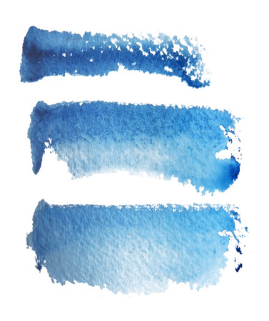 3 rough brush-strokes in blue semi-transparent water-based paint on rough watercolor paper, with white background.