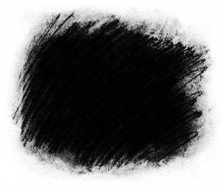 フレーム塗装の背景テクスチャ、荒い織り目加工の背景フレーム白サラウンドと非常に暗い灰色のコピー スペースに最適の大まかな炭走り書きのハ