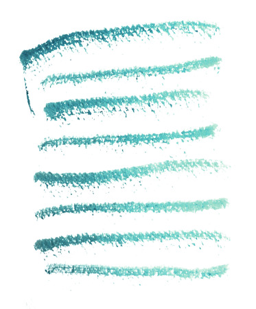 Many rough horizontal brush-strokes in cyan or turquoise semi-transparent water-based paint on rough watercolor paper, with white background. Фото со стока