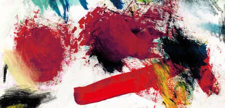 mixedmedia: Mixed-media textured areas with paint and pastels, random marks and textures, predominant red colors.