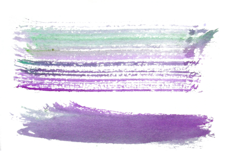two rough horizontal brush-strokes in purple and green semi-transparent water-based paint on rough watercolor paper, with white background.