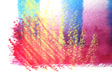 mixedmedia: Artistic texture of watercolor with rough pastels hatching, tints of red, yellow blue, on rough watercolor paper, white background.