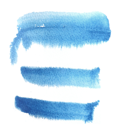 3 rough brush-strokes in blue semi-transparent water-based paint on damp rough watercolor paper, with white background. Stock Photo