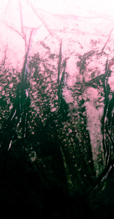 Indian-ink textured gradation on wet surface with crumpled glued tissue. Magenta pink tinted organic background texture gradation.