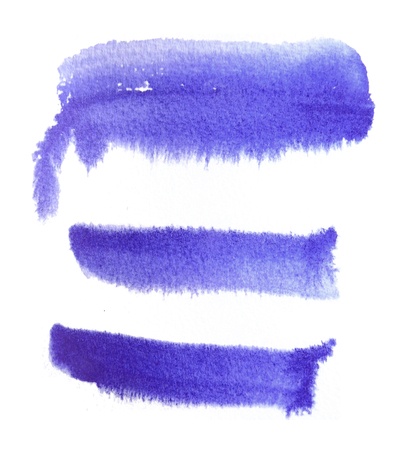 3 rough brush-strokes in purple semi-transparent water-based paint on damp rough watercolor paper, with white background. Фото со стока
