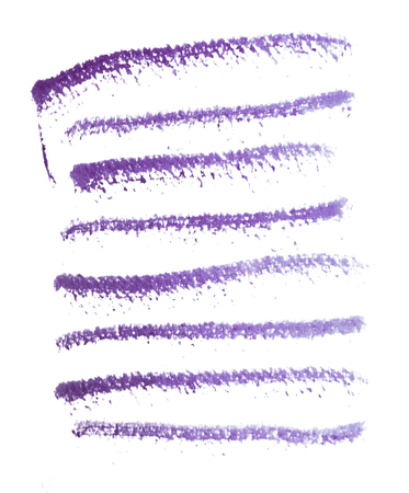 Many rough horizontal brush-strokes in purple semi-transparent water-based paint on rough watercolor paper, with white background. Фото со стока