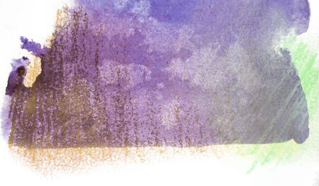 mixedmedia: Artistic texture of purple watercolor with marks from water, and rough smudged pastels hatching in yellow and green, on rough watercolor paper, white background. Stock Photo