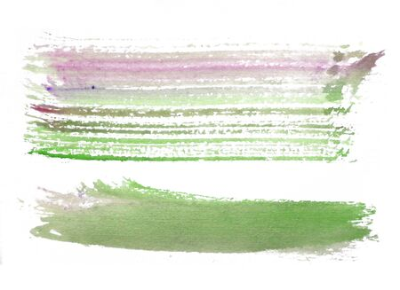 two rough horizontal brush-strokes in green and red semi-transparent water-based paint on rough watercolor paper, with white background.