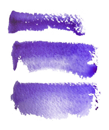 3 rough brush-strokes in purple semi-transparent water-based paint on rough watercolor paper, with white background.