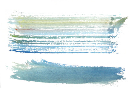 two rough horizontal brush-strokes in blue and yellow semi-transparent water-based paint on rough watercolor paper, with white background.