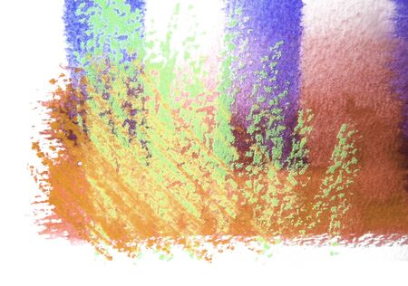 mixedmedia: Artistic texture of watercolor with rough pastels hatching, tints of orange, green and purple, on rough watercolor paper, white background.