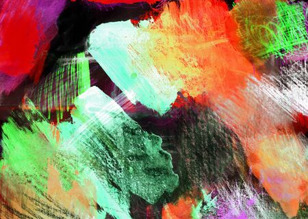 Mixed-media textured areas with paint and pastels, random marks and textures, predominant colors of red and green.