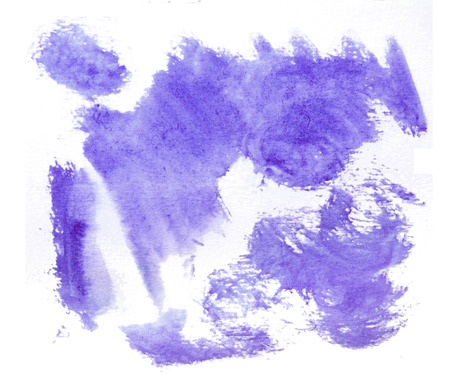 Rough random brush-strokes in purple semi-transparent watercolor paint on rough watercolor paper, with white background.