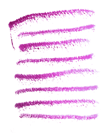 Many rough horizontal brush-strokes in magenta semi-transparent water-based paint on rough watercolor paper, with white background.